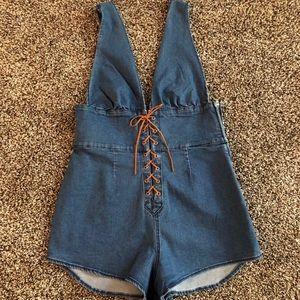 Somedays Lovin Pants - Sexy Mod Denim Timber Shortall playsuit Lace Up